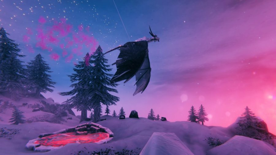 The Valheim dragon, Moder, flying over an icy mountain