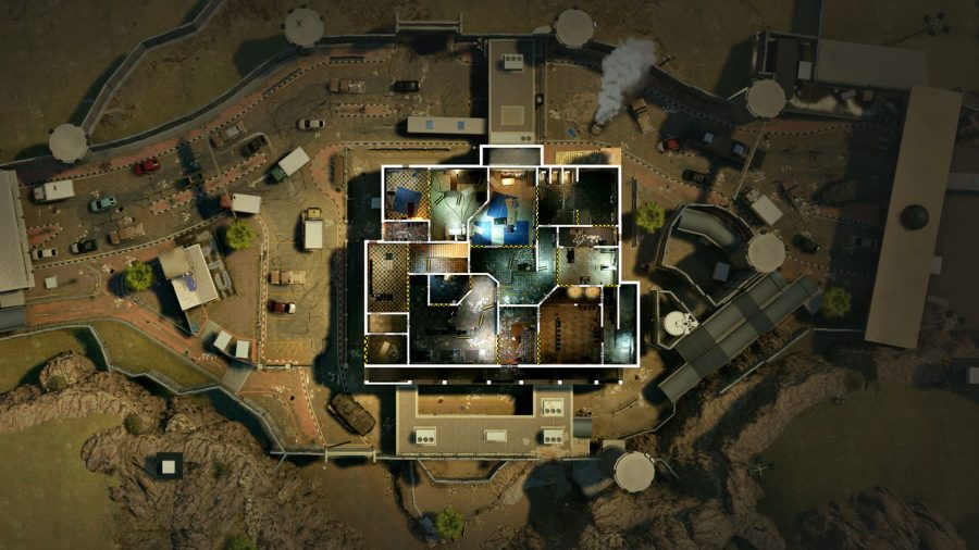 A top-down view of the rework changes coming to the Border map in Rainbow Six Siege Crimson Heist