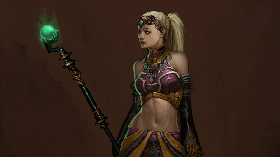 The Enchantress follower in Diablo 3 has a staff with a bright green orb on top.