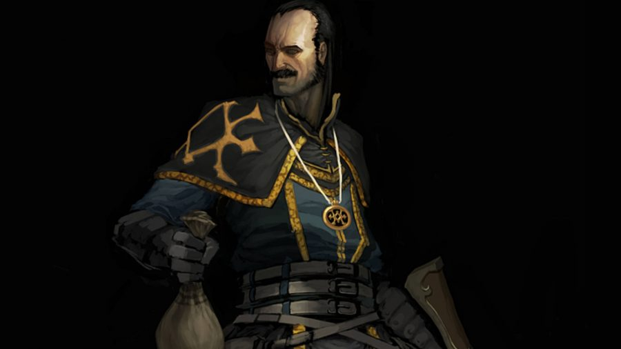 The Scoundrel from Diablo 3 is holding a bag of money and smirking.