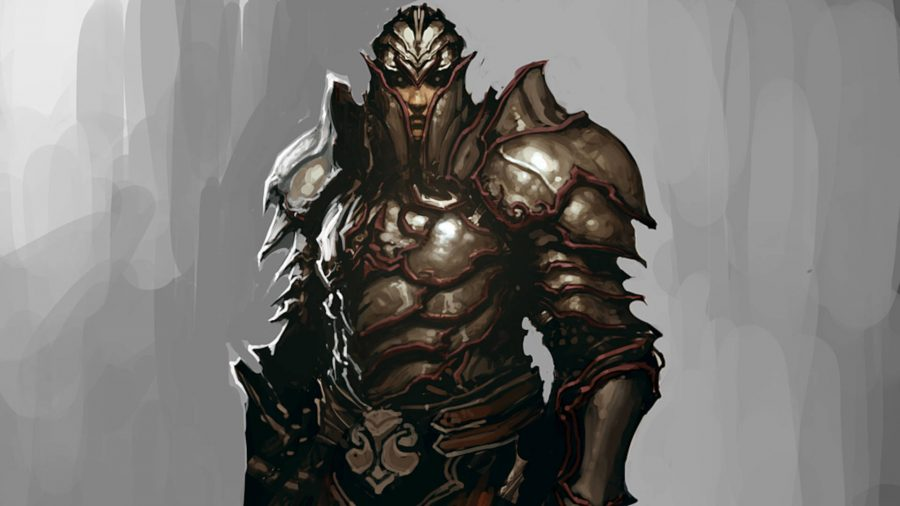 The Templar follower from Diablo 3 is covered in scale armour.