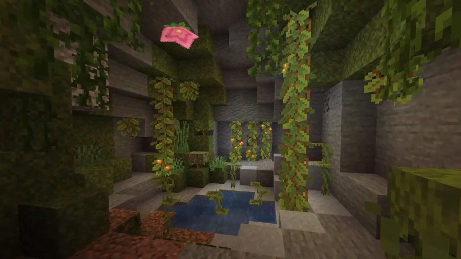 The Lush Caves are home to the Spore Blossom - the pink flower that is to the top-left of the image. It releases spores that are a particle effect. The rest of the chamber is covered in glow berry vines and a small water pool.