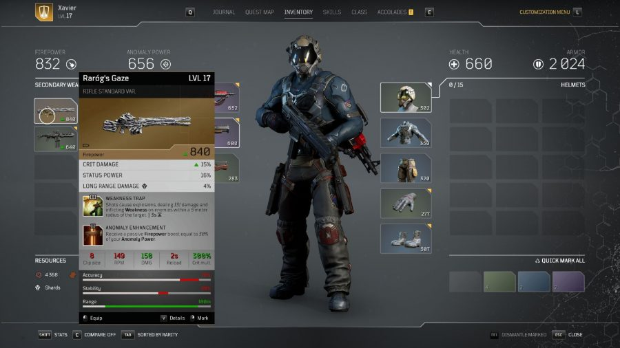 Legendary sniper rifle in Outriders