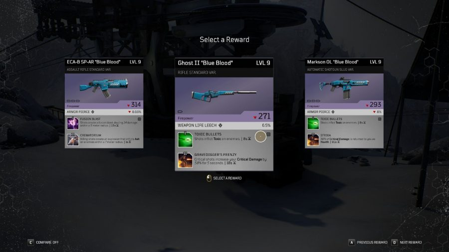 Choice of three epic pieces of loot in Outriders