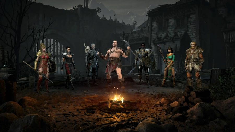 All of the Diablo 2 Resurrected classes standing by a fire. The Barbarian is shouting.