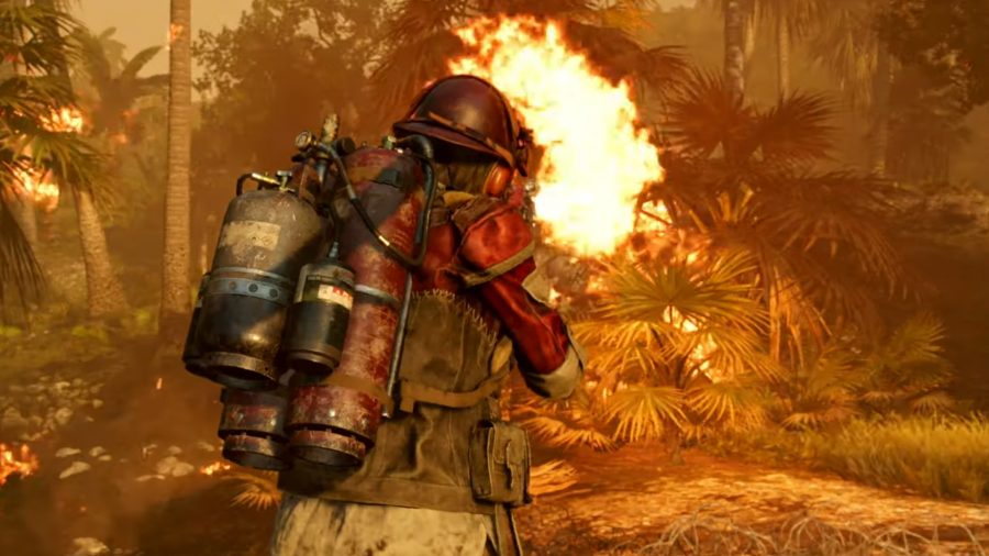 Character wearing a supremo backpack with a flamethrower